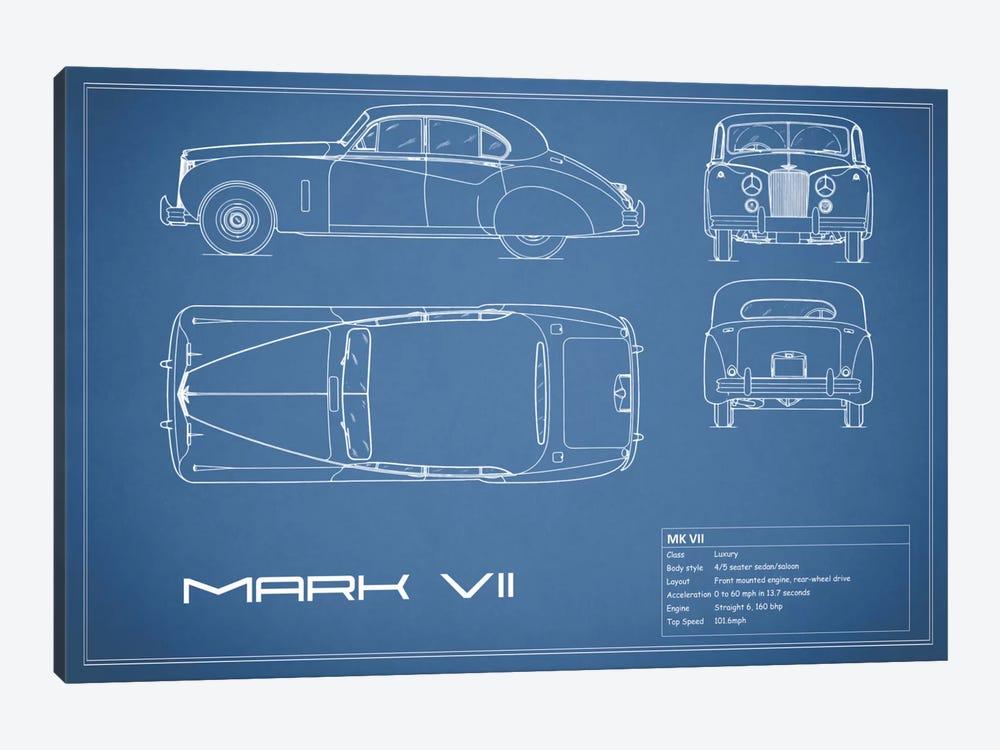 Jaguar Mark VII (Blue) by Mark Rogan 1-piece Canvas Print