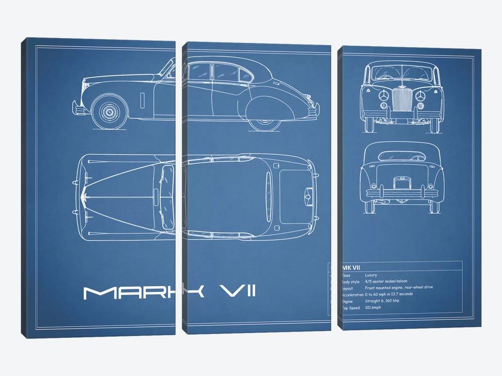 Jaguar Mark VII (Blue) by Mark Rogan 3-piece Canvas Art Print
