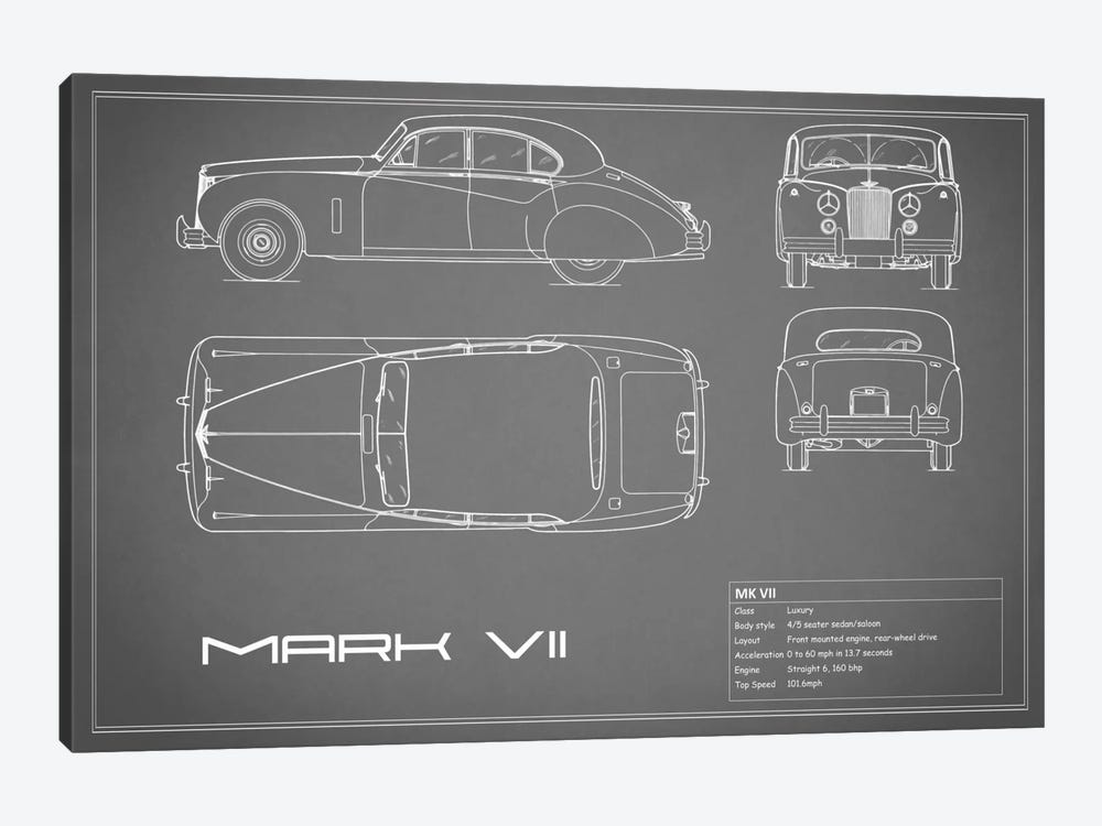 Jaguar Mark VII (Grey) by Mark Rogan 1-piece Canvas Art