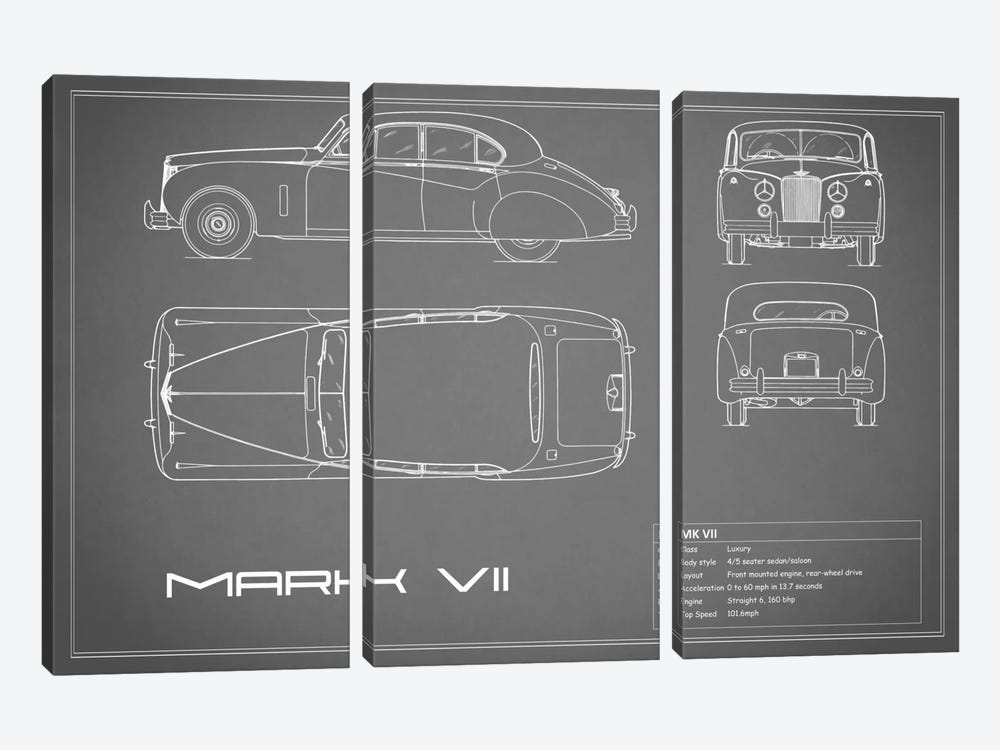 Jaguar Mark VII (Grey) by Mark Rogan 3-piece Canvas Art