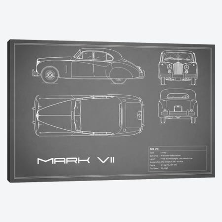 Jaguar Mark VII (Grey) Canvas Print #RGN157} by Mark Rogan Art Print