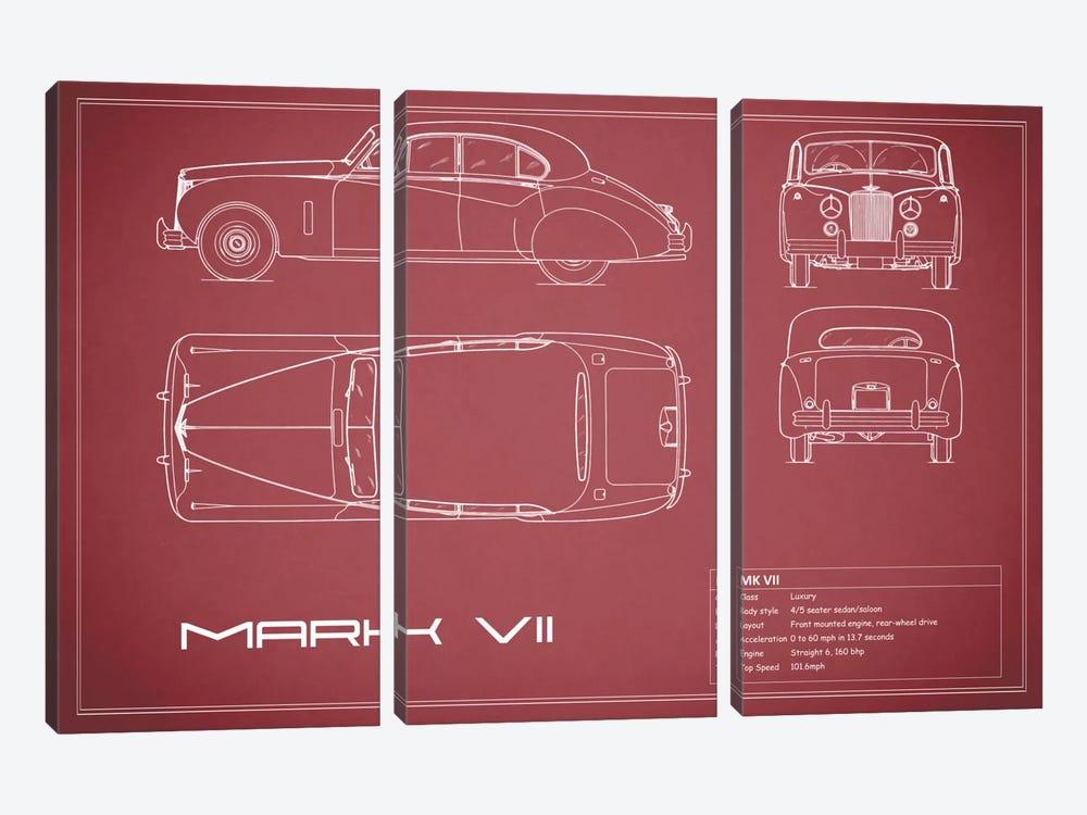 Jaguar Mark VII (Maroon) by Mark Rogan 3-piece Canvas Art Print
