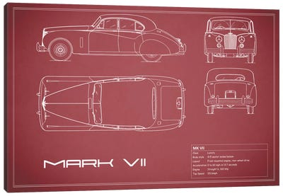 Jaguar Mark VII (Maroon) Canvas Art Print