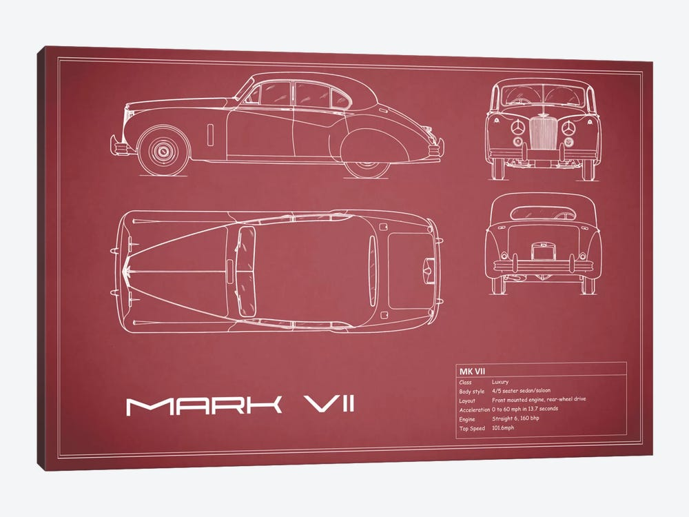 Jaguar Mark VII (Maroon) by Mark Rogan 1-piece Art Print