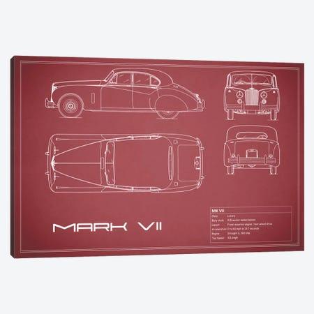 Jaguar Mark VII (Maroon) Canvas Print #RGN158} by Mark Rogan Canvas Artwork