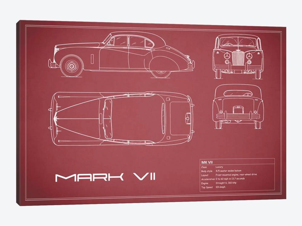 Jaguar Mark VII (Maroon) by Mark Rogan 1-piece Art Print