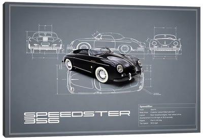 1959 Porsche 356 Speedster (Grey) Canvas Print #RGN15