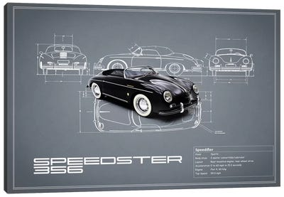 1959 Porsche 356 Speedster (Grey) Canvas Art Print
