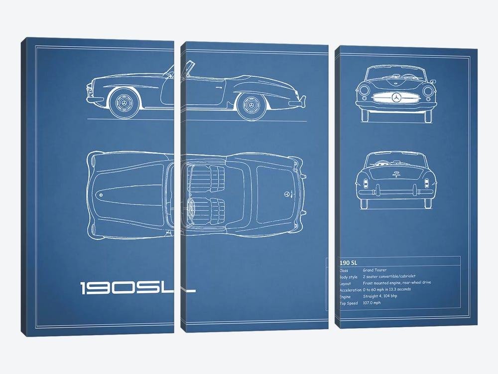 Mercedes-Benz 190 SL Roadster (Blue) by Mark Rogan 3-piece Art Print