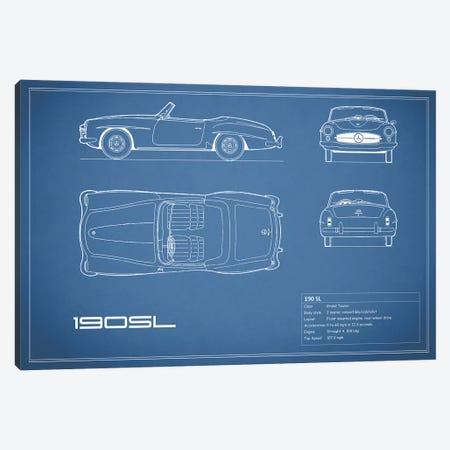 Mercedes-Benz 190 SL Roadster (Blue) Canvas Print #RGN169} by Mark Rogan Canvas Print