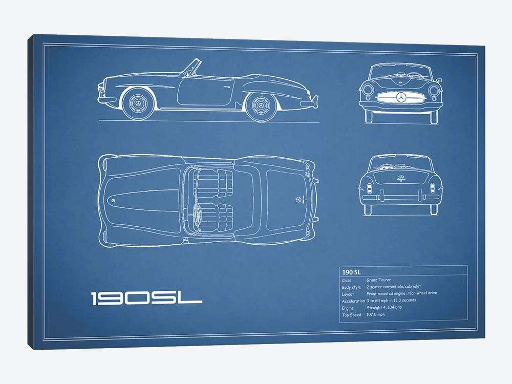 Mercedes-Benz 190 SL Roadster (Blue) by Mark Rogan 1-piece Art Print