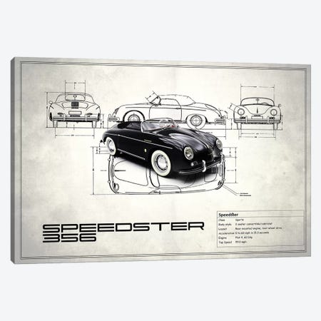 1959 Porsche 356 Speedster (Vintage Silver) Canvas Print #RGN16} by Mark Rogan Canvas Artwork