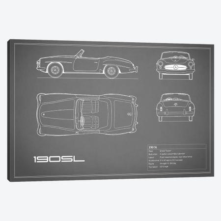 Mercedes-Benz 190 SL Roadster (Grey) Canvas Print #RGN170} by Mark Rogan Canvas Wall Art