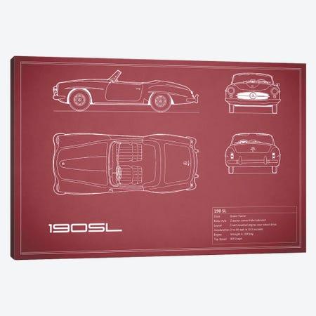 Mercedes-Benz 190 SL Roadster (Maroon) 3-Piece Canvas #RGN171} by Mark Rogan Canvas Artwork