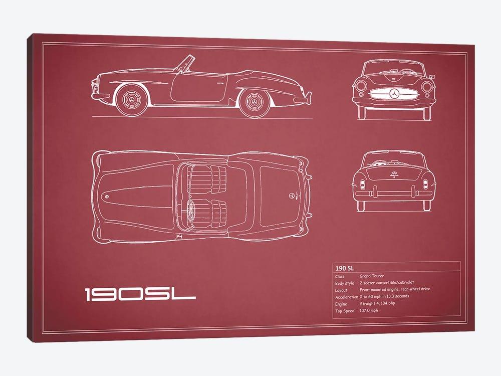 Mercedes-Benz 190 SL Roadster (Maroon) by Mark Rogan 1-piece Canvas Art
