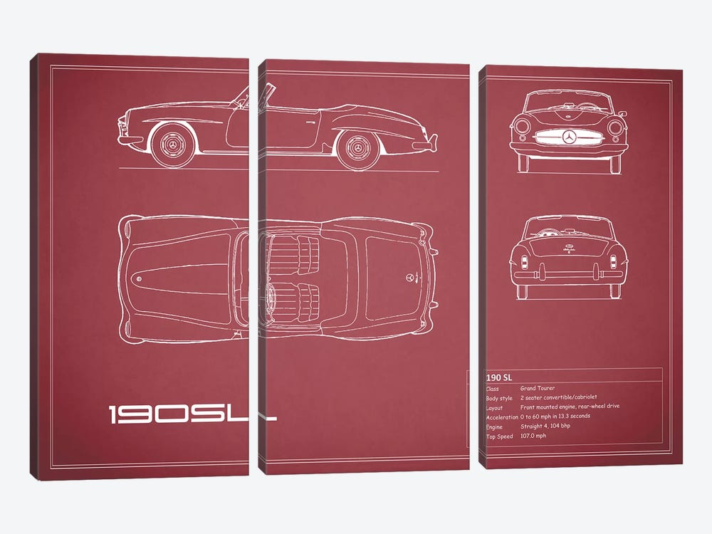 Mercedes-Benz 190 SL Roadster (Maroon) by Mark Rogan 3-piece Canvas Wall Art