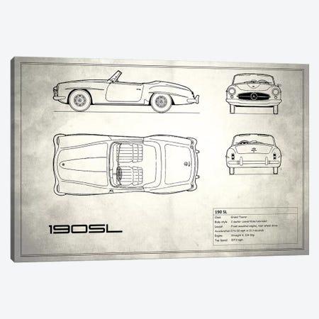 Mercedes-Benz 190 SL Roadster (Vintage Silver) 3-Piece Canvas #RGN172} by Mark Rogan Canvas Artwork