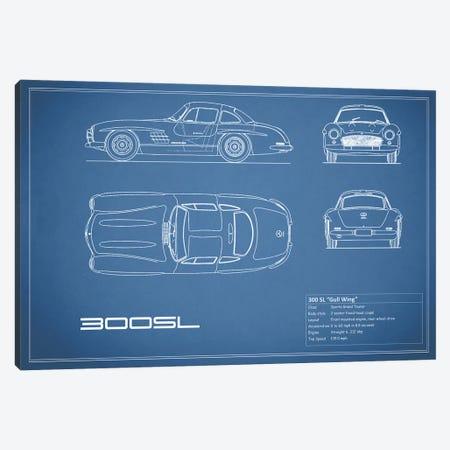 Mercedes-Benz 300 SL Gullwing Coupe (Blue) 3-Piece Canvas #RGN173} by Mark Rogan Canvas Wall Art