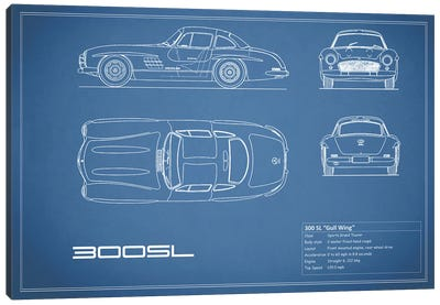 Mercedes-Benz 300 SL Gullwing Coupe (Blue) Canvas Art Print