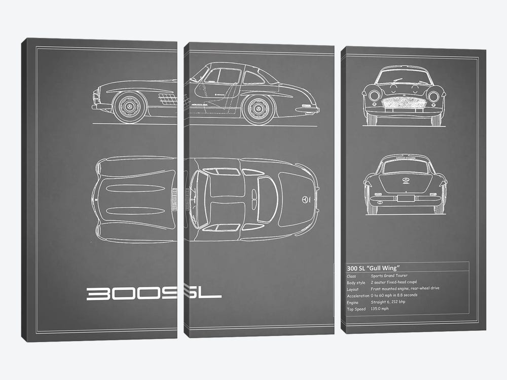 Mercedes-Benz 300 SL Gullwing Coupe (Grey) by Mark Rogan 3-piece Canvas Art Print