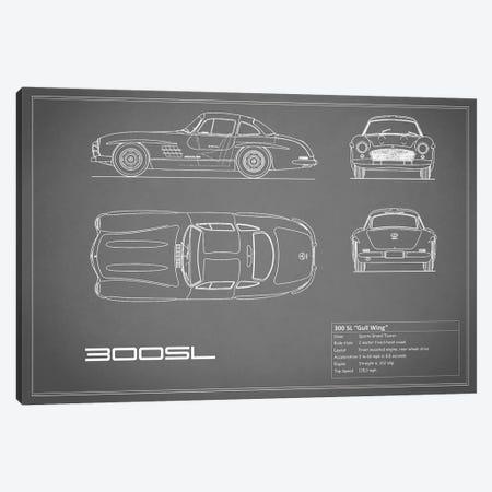 Mercedes-Benz 300 SL Gullwing Coupe (Grey) 3-Piece Canvas #RGN174} by Mark Rogan Canvas Art Print