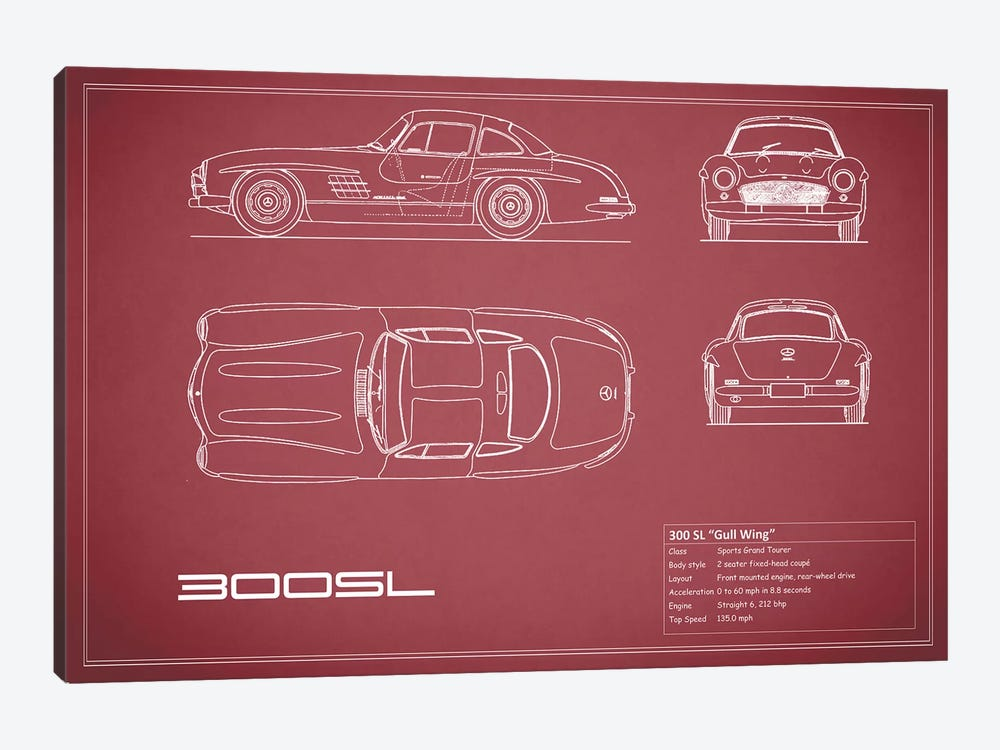 Mercedes-Benz 300 SL Gullwing Coupe (Maroon) by Mark Rogan 1-piece Canvas Artwork