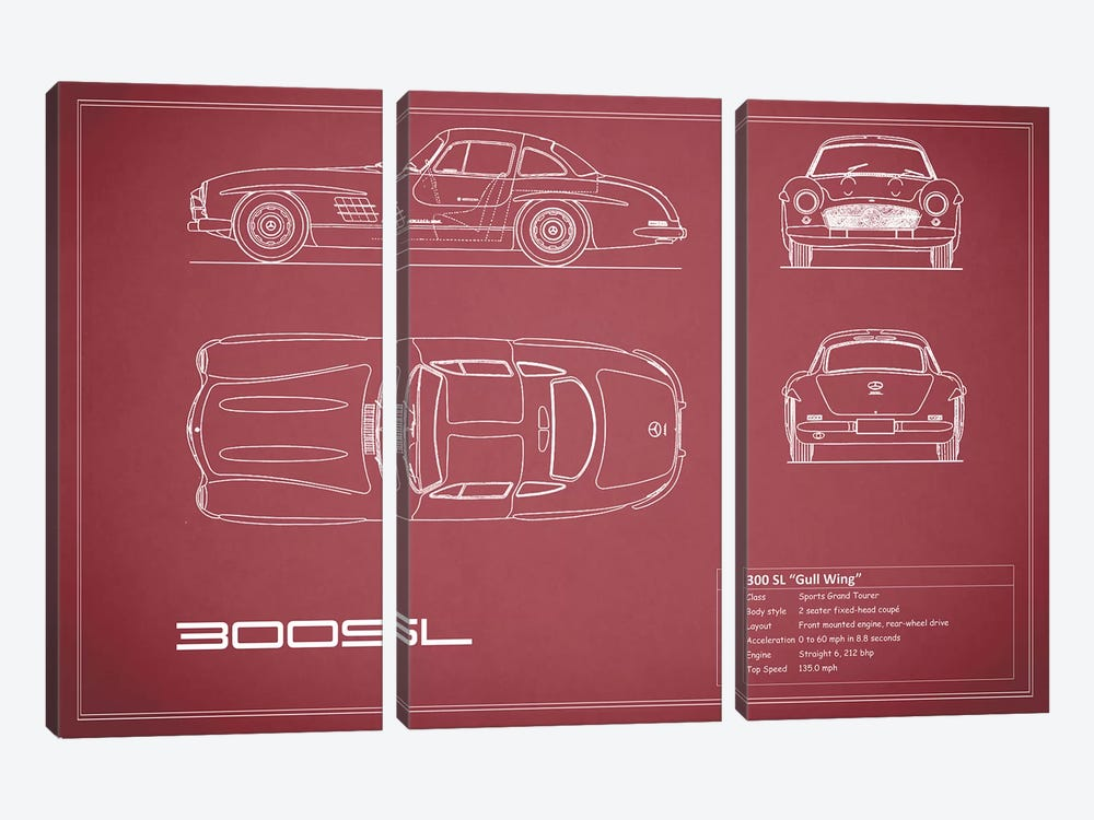 Mercedes-Benz 300 SL Gullwing Coupe (Maroon) by Mark Rogan 3-piece Canvas Art