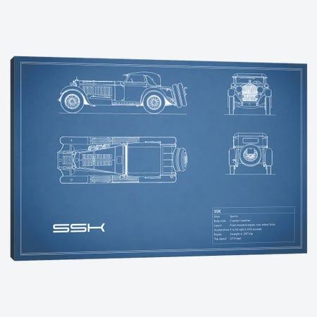 Mercedes-Benz SSK (Blue) Canvas Print #RGN178} by Mark Rogan Canvas Wall Art
