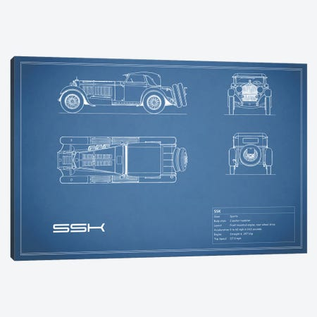 Mercedes-Benz SSK (Blue) Canvas Print #RGN178} by Mark Rogan Canvas Wall Art