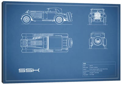 Mercedes-Benz SSK (Blue) Canvas Print #RGN178