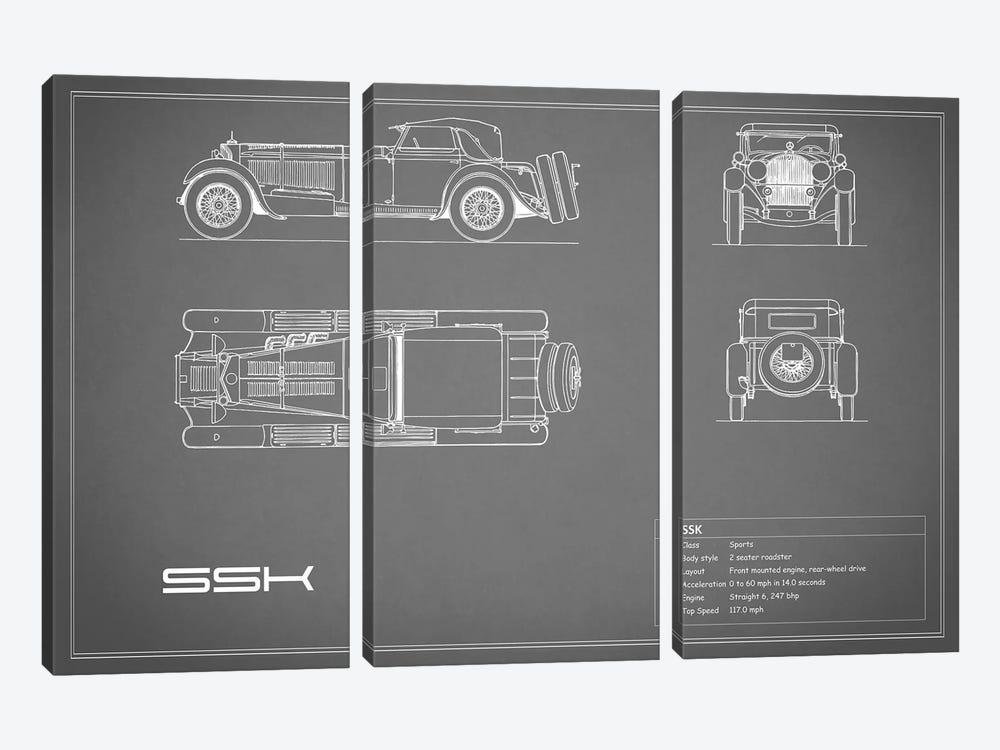 Mercedes-Benz SSK (Grey) by Mark Rogan 3-piece Canvas Artwork