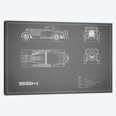 Mercedes-Benz SSK (Grey) Canvas Print #RGN179} by Mark Rogan Canvas Wall Art
