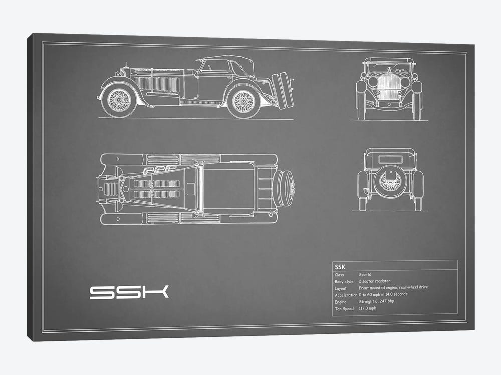 Mercedes-Benz SSK (Grey) by Mark Rogan 1-piece Canvas Artwork