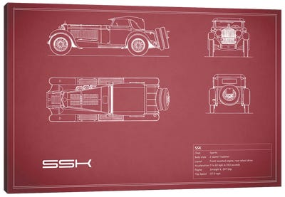 Mercedes-Benz SSK (Maroon) Canvas Art Print
