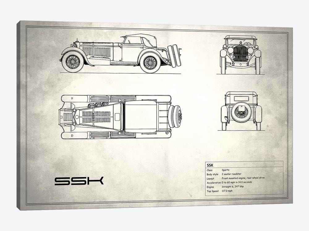Mercedes-Benz SSK (Vintage Silver) by Mark Rogan 1-piece Canvas Print