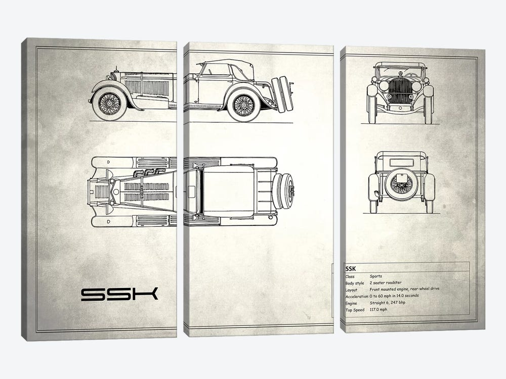 Mercedes-Benz SSK (Vintage Silver) by Mark Rogan 3-piece Canvas Art Print