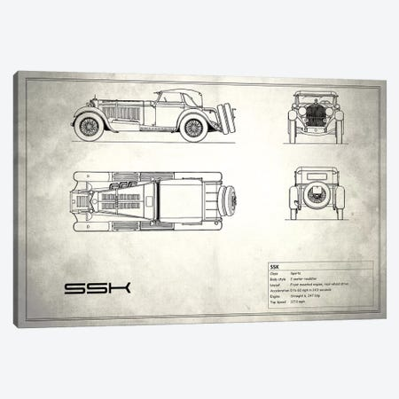 Mercedes-Benz SSK (Vintage Silver) Canvas Print #RGN181} by Mark Rogan Canvas Print