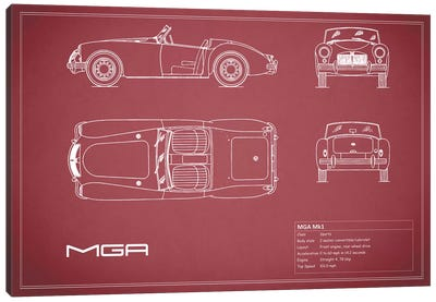 MG MGA Mark I (Maroon) Canvas Art Print