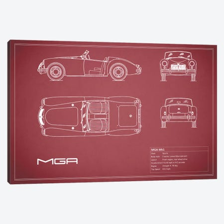 MG MGA Mark I (Maroon) 3-Piece Canvas #RGN184} by Mark Rogan Canvas Artwork