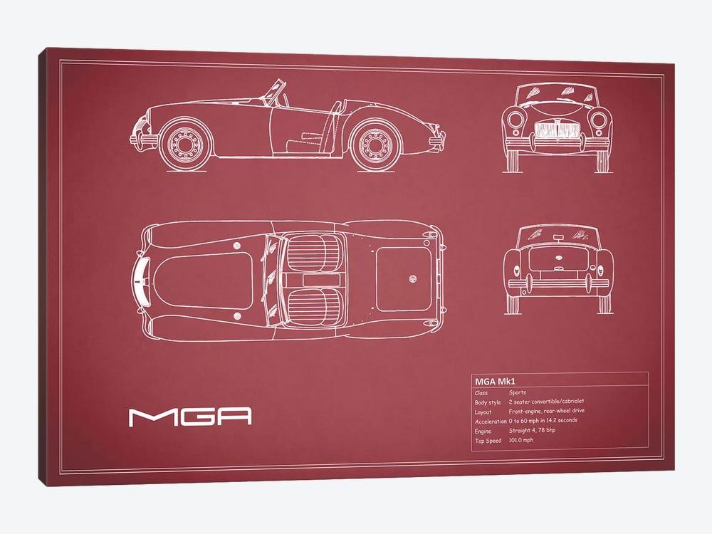 MG MGA Mark I (Maroon) by Mark Rogan 1-piece Canvas Artwork