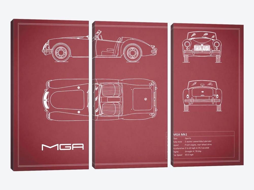 MG MGA Mark I (Maroon) by Mark Rogan 3-piece Canvas Artwork