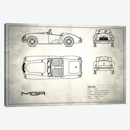 MG MGA Mark I (Vintage Silver) 3-Piece Canvas #RGN185} by Mark Rogan Canvas Art