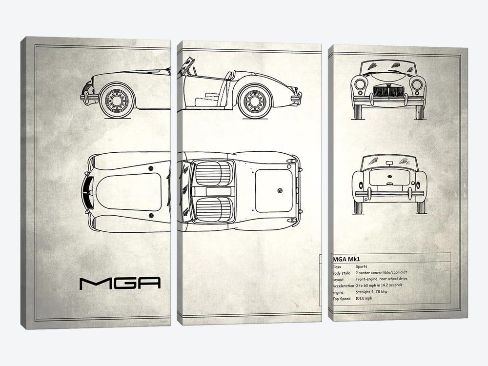 MG MGA Mark I (Vintage Silver) by Mark Rogan 3-piece Canvas Print