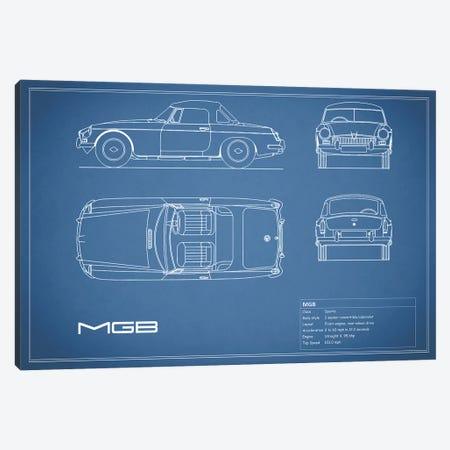 MG MGB (Blue) Canvas Print #RGN186} by Mark Rogan Canvas Artwork