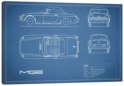 MG MGB (Blue) Canvas Art Print