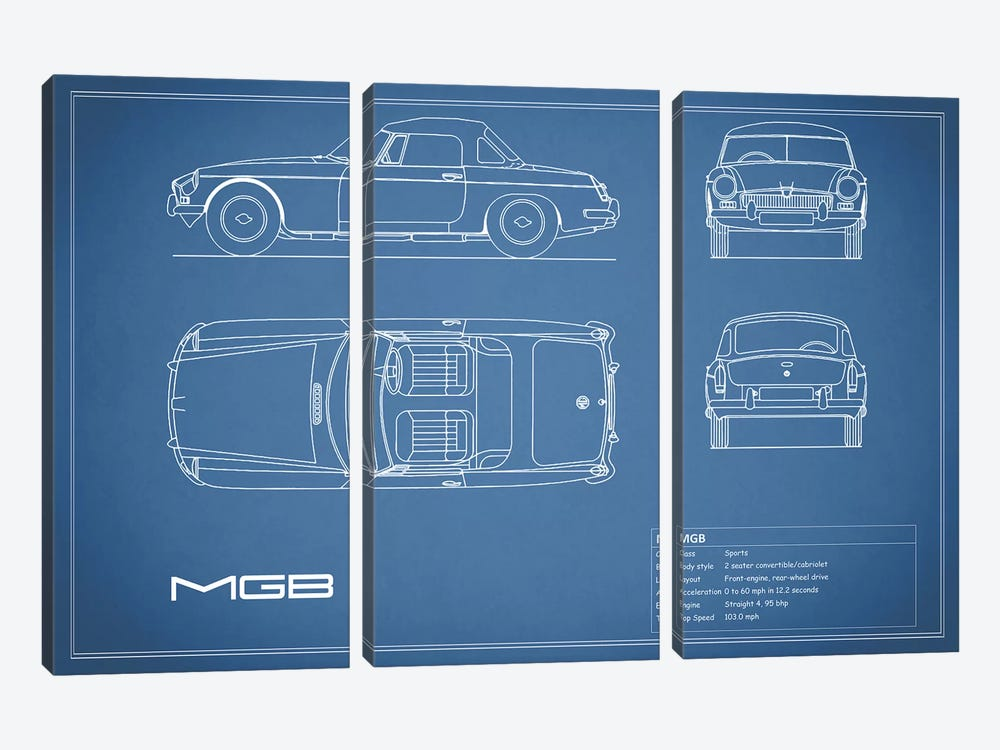 MG MGB (Blue) by Mark Rogan 3-piece Canvas Art