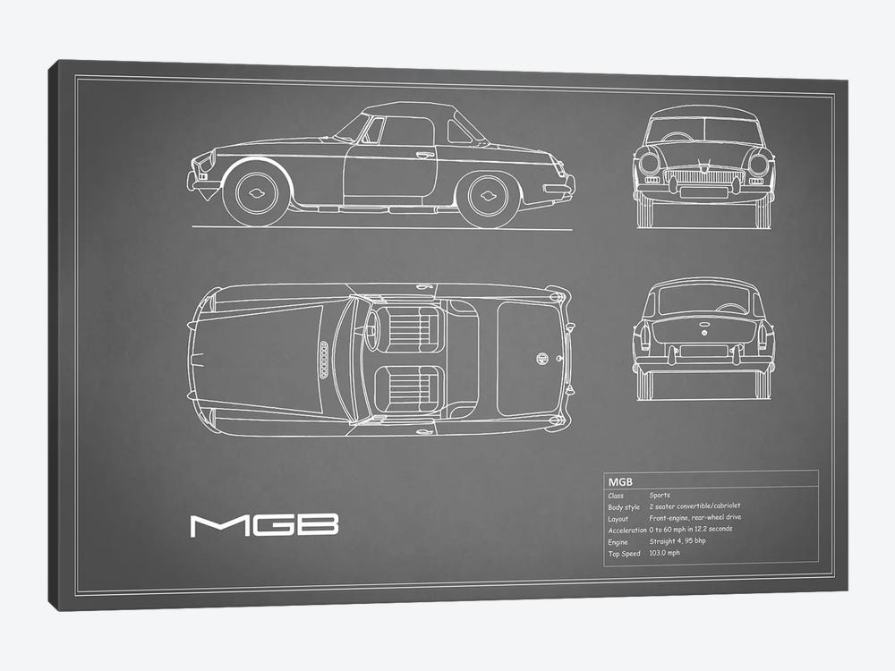 MG MGB (Grey) by Mark Rogan 1-piece Canvas Art Print