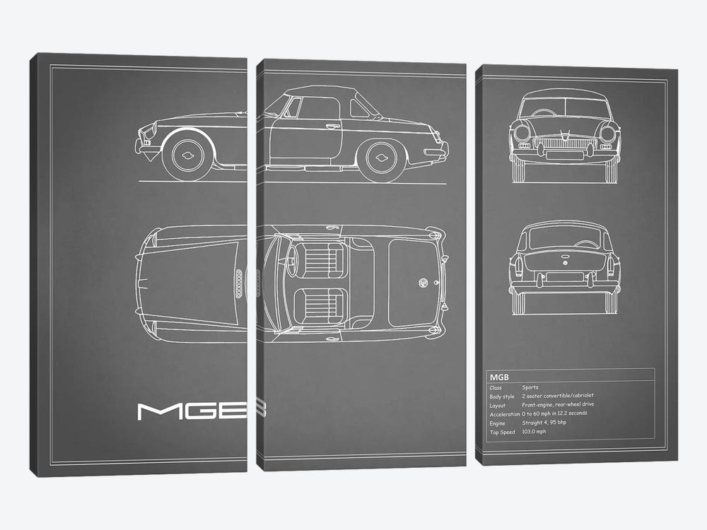 MG MGB (Grey) by Mark Rogan 3-piece Canvas Art Print