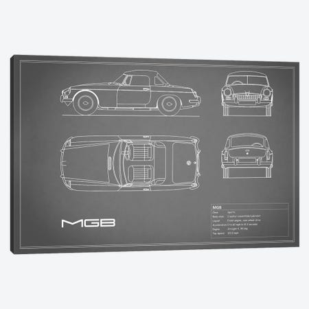 MG MGB (Grey) 3-Piece Canvas #RGN187} by Mark Rogan Canvas Wall Art