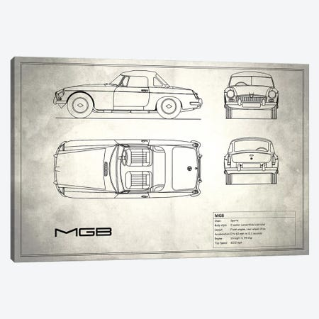 MG MGB (Vintage Silver) 3-Piece Canvas #RGN188} by Mark Rogan Canvas Art Print